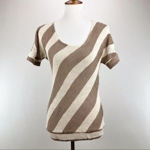 Scoopneck Striped Short Sleeve Tunic Tee Shirt